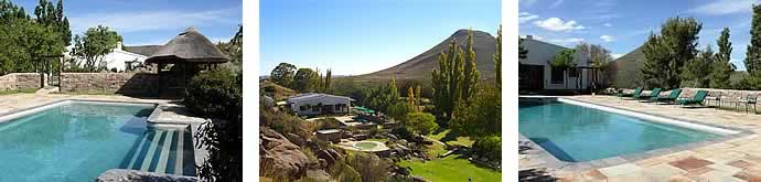 3 photos of the pool at Schanskraal Country Manor